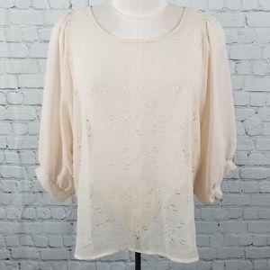 CHRIS & CAROL | sheer rose laser cut blouse